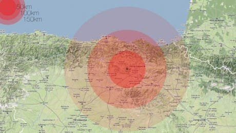 Central Nuclear de Santa María de Garoña, radio de acción 50km 100km 150km