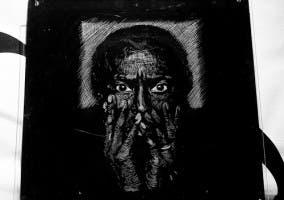 Dibujo de Miles Davis basado en una fotografía de Anton Corbijn