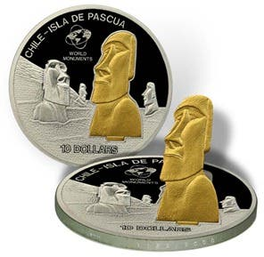 Isla de Pascua (Chile), monedas con estatuas en relieve con bisagra