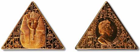 Isla de Man, monedas triangulares con Tutankamón