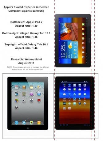 Apple altera fotos del Galaxy Tab 10.1 en su demanda contra Samsung
