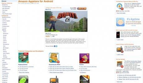 Captura de la versión web de Amazon AppStore