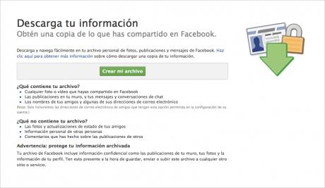 "Facebook añade microformatos a la característica ""Descarga tu información"""