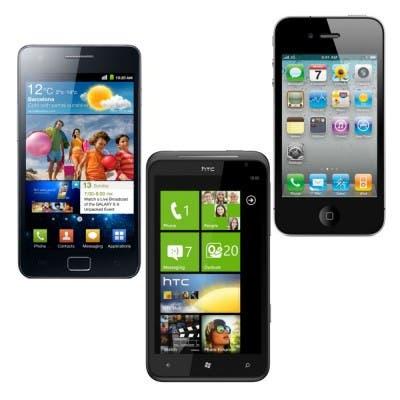 HTC Titan iPhone 4 Samsung Galaxy 2