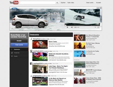 Captura de la nueva interfaz de YouTube