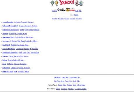 Así lucían algunas de las páginas web mas importantes en sus inicios
