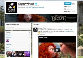 Página de marca en Twitter de Pixar
