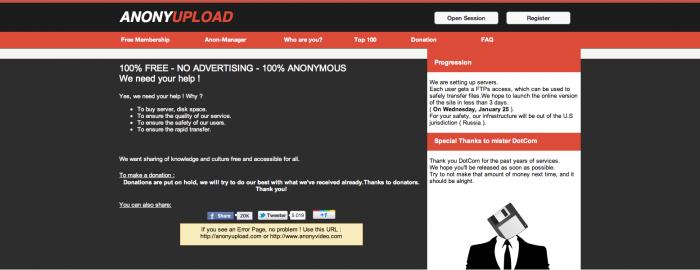 Pagina web de Anonyupload