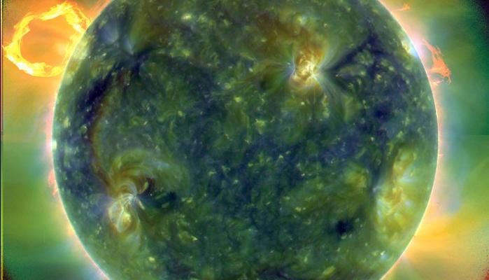 Erupción solar en la Tierra