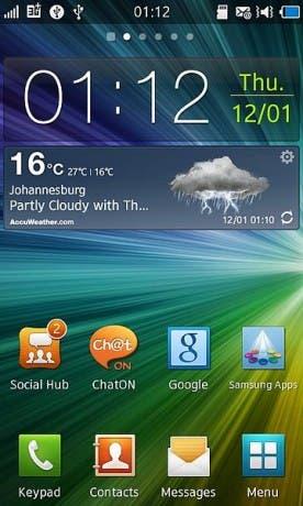 Captura de pantalla del sistema operativo móvil Bada