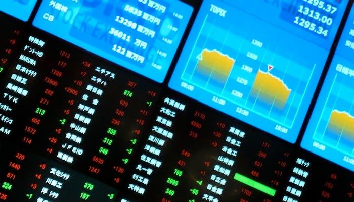 Fotografía de la pantallas que muestran las fluctuaciones de la Bolsa