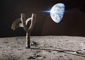 Montaje del tirachinas de Angry Birds en la Luna, con la Tierra de fondo