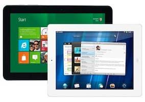 Montaje del iPad de Apple y del Samsung Galaxy Tab 10.1 de Samsung