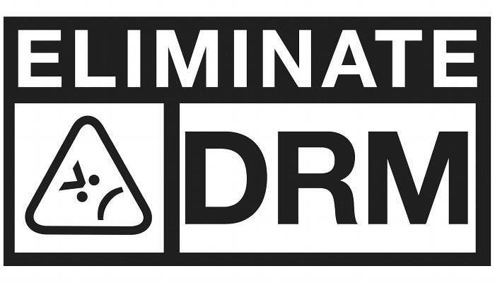 """Logo con el lema """"Eliminate DRM"""""""