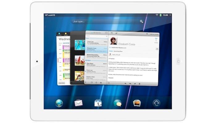 Montaje de un iPad mostrando webOS