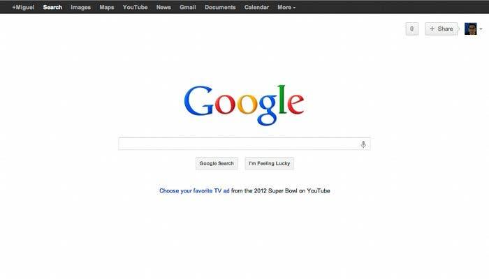 Captura de la página principal de Google en la que se puede ver la nueva barra