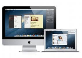 Imagen de dos Macs mostrando el escritorio de OS X Mountain Lion