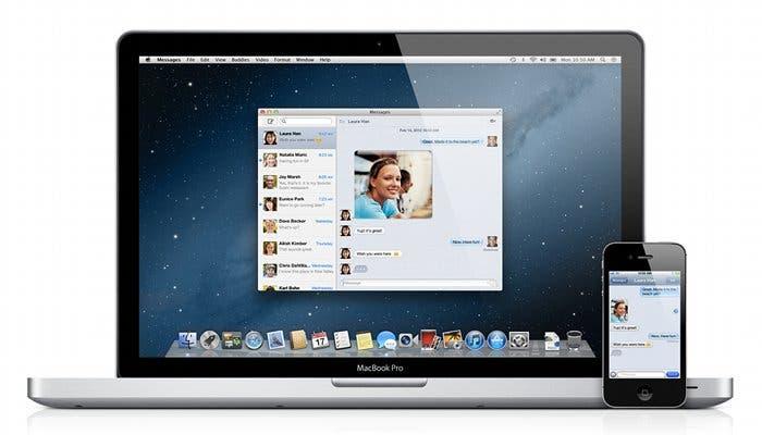 Un MacBook mostrando la aplicación Mensajes de OS X Mountain Lion