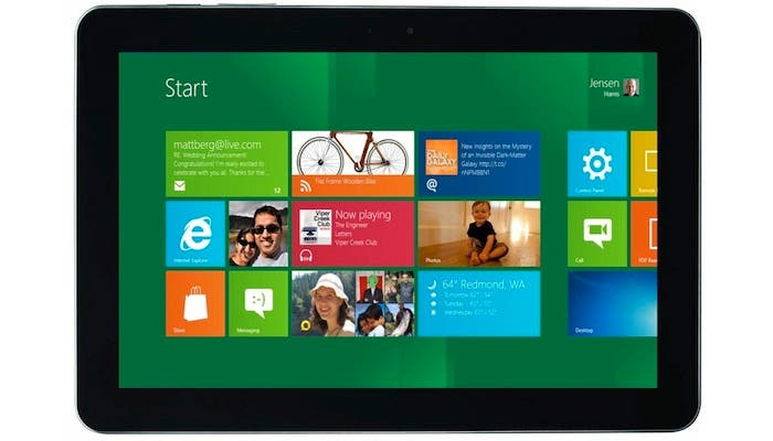 Montaje de un Samsung Galaxy Tab mostrando Windows 8