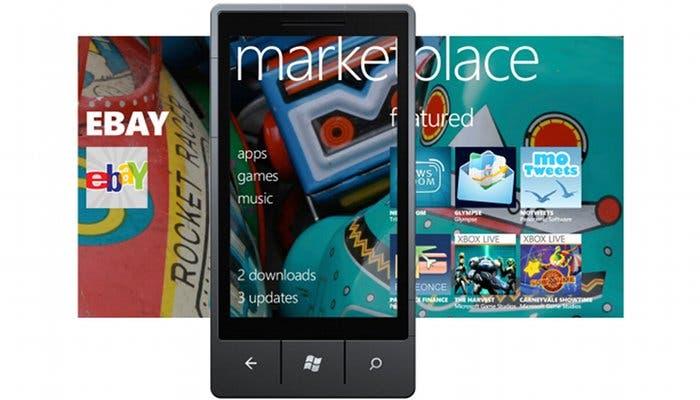 Montaje de una captura de pantalla de Windows Phone 7 junto a un teléfono