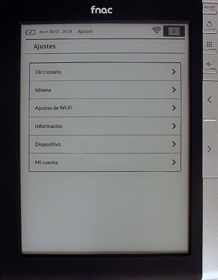 Pantalla de los ajustes del eBook de Fnac