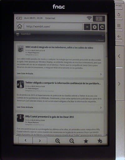 Navegador de Internet del eBook de Fnac en la página Xombit.com