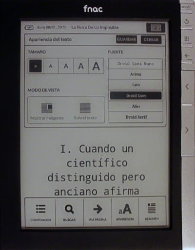 Opciones de apariencia del apartado de lectura del eBook de Fnac