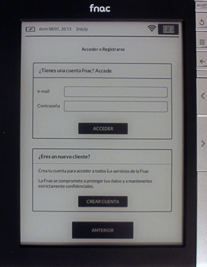 Pantalla de registro del eBook de Fnac