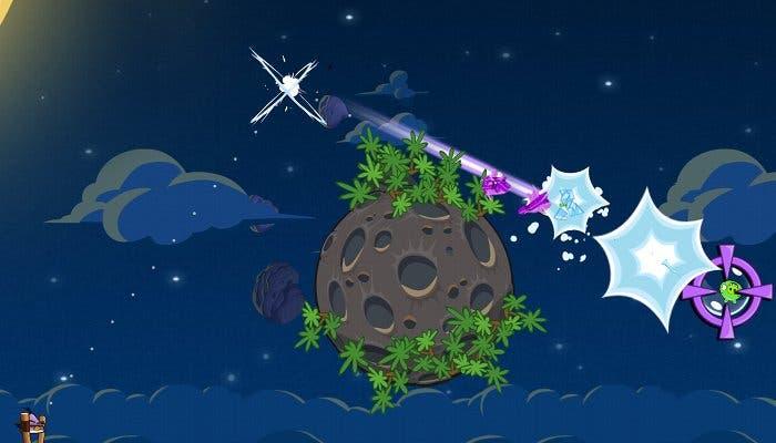Captura de un nivel del juego Angry Birds Space