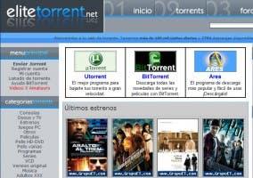 Captura de la página principal de EliteTorrent