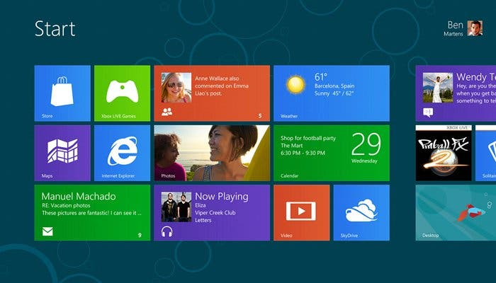 Captura de la pantalla de inicio de Windows 8