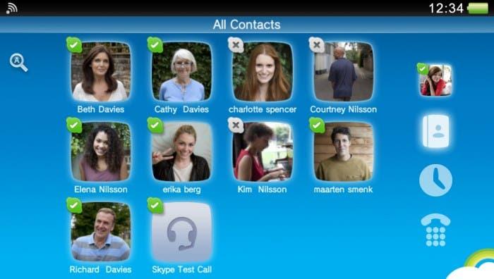 Vista de la página de contactos de la aplicación