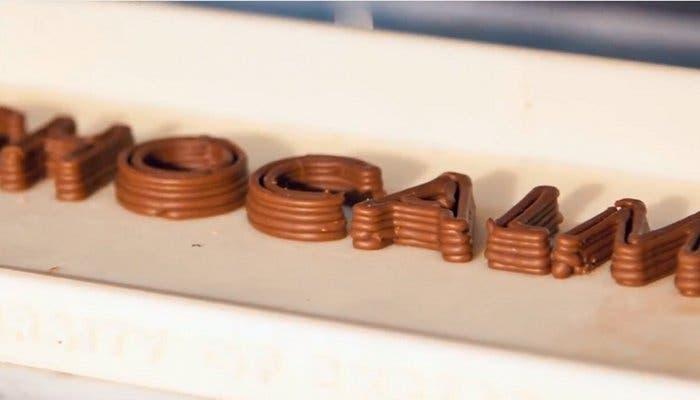 Resultado de una impresión en 3D de chocolate