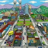 Ilustración de la Springfield de la seria de Los Simpsons