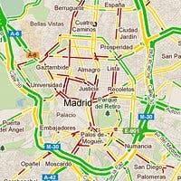Vista de Google Maps mostrando el nivel de tráfico