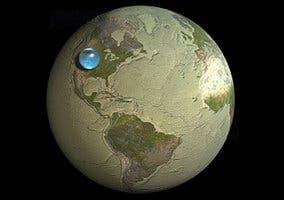 Representación del volumen del agua de la Tierra frente al del planeta