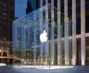 Fotografía del exterior del Apple Store de la Quinta Avenida de Nueva York