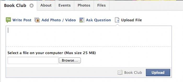 """Captura de pantalla de la función """"compartir archivos"""" de Facebook"""
