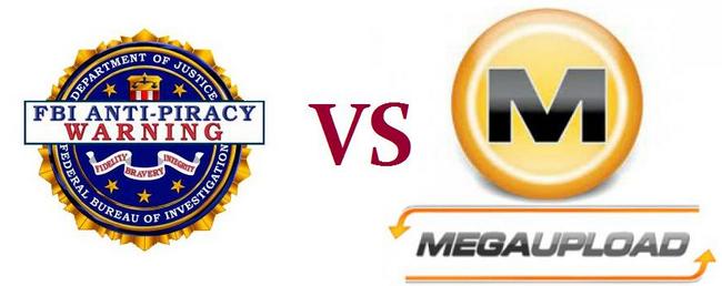 Logos De FBI y Megaupload