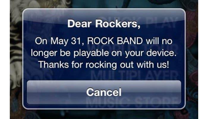 Aviso que mostró el juego Rock Band