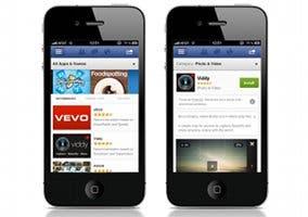 Tienda de aplicaciones de Facebook funcionando en dos iPhones