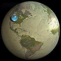 Montaje que muestra toda el agua de la Tierra concentrada
