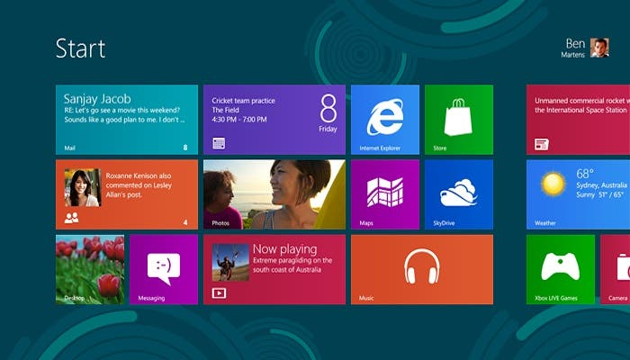 Captura de pantalla de Windows 8