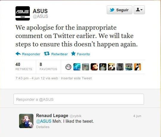 Tweet Con La Disculpa Oficial De ASUS