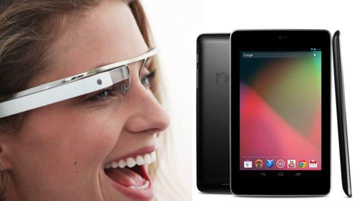 Montaje con imágenes de un prototipo de Google Glasses y un tablet Nexus 7