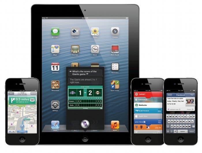Fotografía de varios iPhone y un iPad ejecutando iOS 6