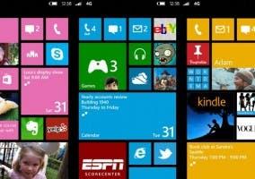 Captura de la pantalla de inicio de Windows Phone 8