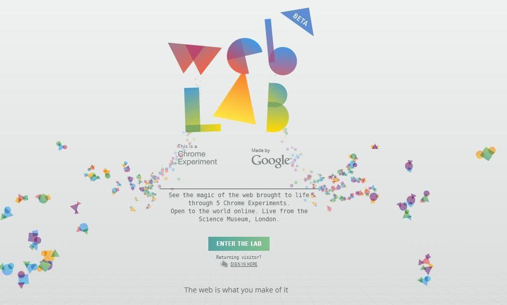Web de la exposición Web Lab de Google