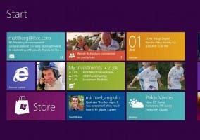 Captura de la pantalla de inicio de Windows 8