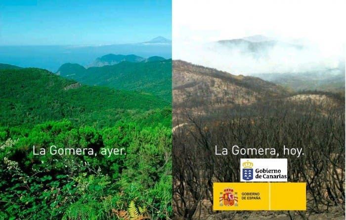 Imagen del antes y después del paso del fuego en La Gomera
